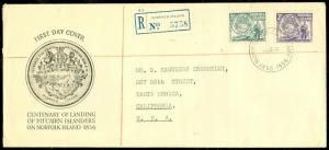 EDW1949SELL : NORFOLK ISLAND 1956 Registered First Day Cover to USA.