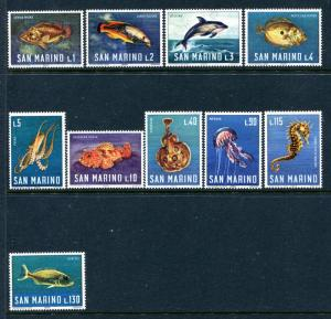San Marino 643-652, MNH, 1974. Marine Life. x29435