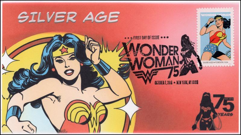 2016, Wonder Woman, Silver Age, BW Pictorial Postmark, NY NY, 16-285