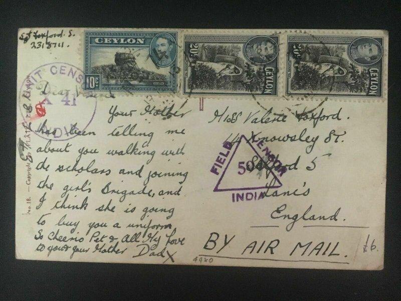 1943 Ceylon RPPC postcard Cover to England Censored Hindu Temple View Colombo