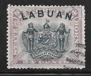 Labuan 57: 24c Arms of North Borneo, used, F