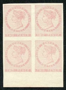 PRINCE EDWARD Is 1862 2d pale rose Imperf Plate Proof Block of FOUR