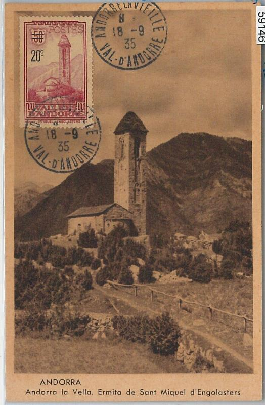 59146  -  ANDORRA - POSTAL HISTORY: MAXIMUM CARD 1935 - ARCHITECTURE