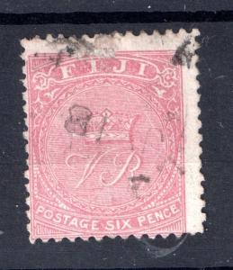 Fiji QV 1881 6d rose Perf 12.5 used WS7084