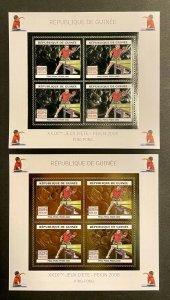 Stamps Mini Sheet Olympic Games pekin 2008 Ping-Pong Gold Silver Guinea Perf.