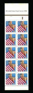 # 2921a Flag Over Porch 32¢ Booklet Pane of 10  MNH  1996