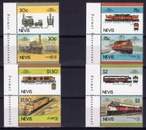 Nevis 1986 TRAINS & LOCOMOTIVES 4 Pairs (8v) Perforated Mint (NH)