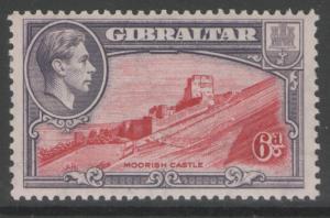 GIBRALTAR SG126b 1942 6d CARMINE & GREY-VIOLET p13 MTD MINT