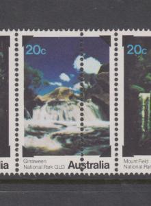 Australia 1978 Waterfalls Strip 5 with DOUBLE PERFS down centre - MUH