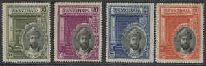 ZANZIBAR SG323/6 1936 SILVER JUBILEE OF SULTAN MTD MINT LIGHT GUM TONE