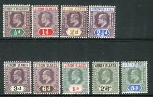BRITISH VIRGIN ISLANDS-1904  A lightly mounted mint set to 5/- Sg 54-62