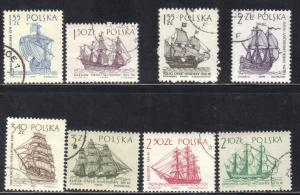 POLAND SC# 1206-13  USED SAILING SHIPS  1964 SEE SCAN