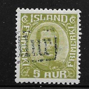 ICELAND 111, USED,  R.C, CHRISTIAN X,