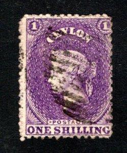 Ceylon #57,  F/VF, Used, Wmk. 1b, CV $12.00 ....  1290043