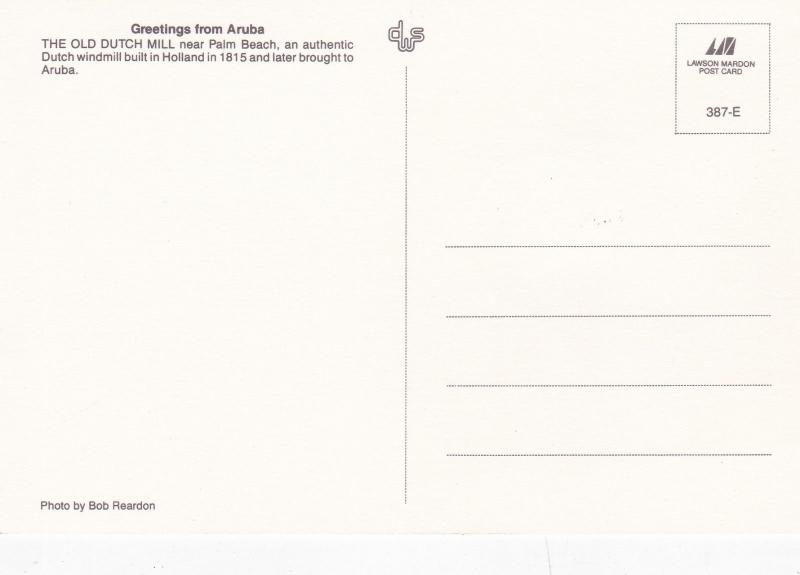 Aruba 1992 The Old Dutch Mill Maxim Card FDI VGC