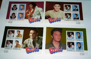 St. Vincent - 878-81, MNH Set of S/S. E. Presley. SCV-$18.65