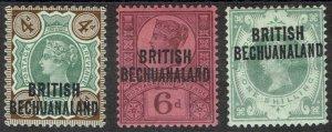 BECHUANALAND 1891 QV GB 4D 6D AND 1/-