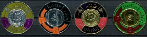 Qatar SC# 99, 99A-C Silver Foil Coin shaped Stamps MLH