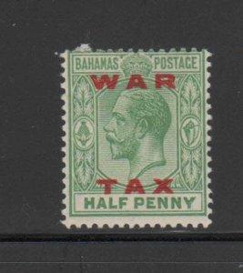 BAHAMAS #MR11  1919  1/2p KING GEORGE V  WAR TAX   MINT VF LH  O.G