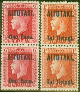 Aitutaki 1916-17 set of 2 Vertical Pairs SG13b-14b Fine Lightly Mtd Mint
