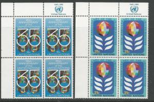 UN-NY  # 322-23 U.N. 35th Anniversary M.I. 4 blocks  (2)  Mint NH