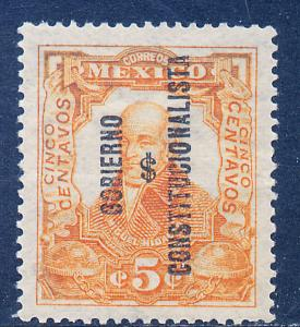 MEXICO 427 5¢ REVOLUTIONARY OVERPRINT GOBIERNO $ CONSTITUC... MINT, NH.F-VF.