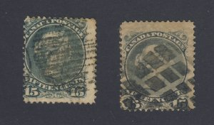 2x Canada Large Queen Used Stamps #30-15c VG/F #30b-15c VG Guide Value = $100.00