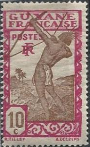 French Guiana 114 (mh) 10c Carib archer, magenta & brown (1929)