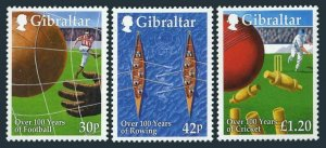 Gibraltar 817-819,MNH. Sports in Gibraltar,100,1999.Soccer,Rowing,Cricket.