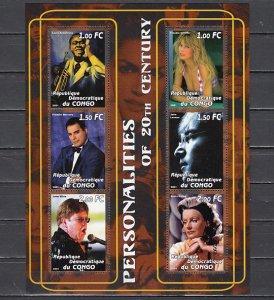 Congo Dem., 2001 Cinderella. Cinema & Musicians sheet of 6. ^