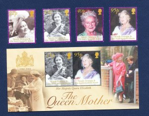 SOUTH GEORGIA - # 281-285 - MNH set & S/S  - Queen Mother - 2002