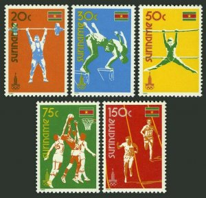 Surinam 552-556,MNH.Michel 905-909. Olympics Moscow-1980.Weight lifting,Diving,