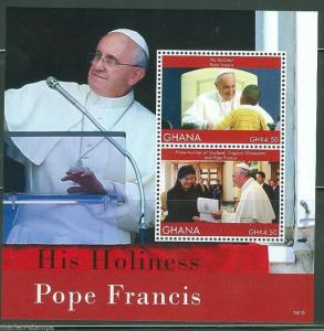 GHANA 2014 POPE FRANCIS MEETINGS SOUVENIR SHEET MINT NH