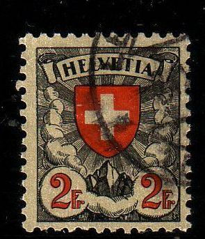 Switzerland Sc 203a  1933 2 fr shield stamp used