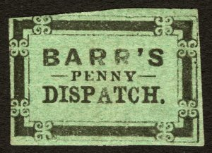 #8L2 1855 Black on Green Barr's Penny Dispatch, Lancaster, PA Local