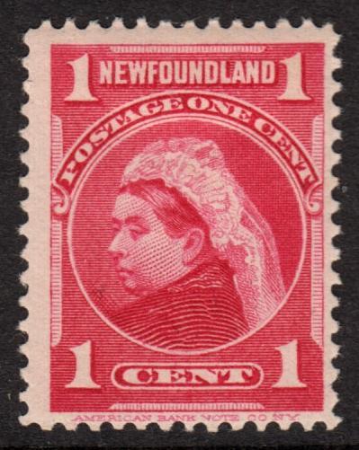Newfoundland QV 1897 1c Carmine SG84 Mint Hinged