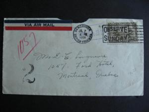 CANADA odd 1931 cover postage due?, purple Hotel Ford Montreal cancel on back!