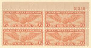 US SC #C19 MNH PB4 1934 6c Winged Globe #21235, CV $20.00