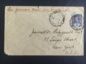 1903 Singapore Cover To New York USA Via German Mail to England