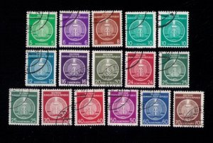 DDR GERMANY SCOTT #O1-O16 1954 ARMS OF REPUBLIC OFFICIAL STAMPS USED F-VF