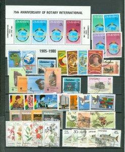 ZIMBABWE LOT of 75 incl 12 SETS...MNH/USED...$115.00