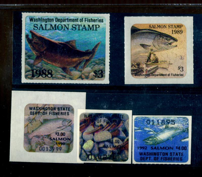 Washington 1988-92 Salmon Stamps NH