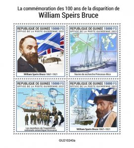 GUINEA - 2021 - William Speirs Bruce - Perf 4v Sheet -Mint Never Hinged