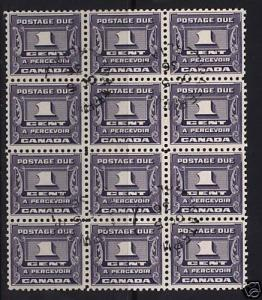 Canada #J11 Used CDS Block Of 12 With Oct 5 1936 Cancel
