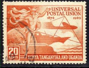 Kenya Tanganyika KUT 1949 KGV1 20ct Orange UPU used SG 159 ( J725 )