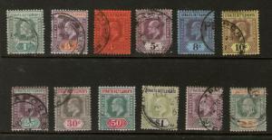 Malaysia S. Setts. 1902 KEVII SG 110-121 FU