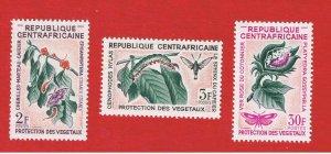Central Africa #53-55  MNH OG   Moths  Free S/H