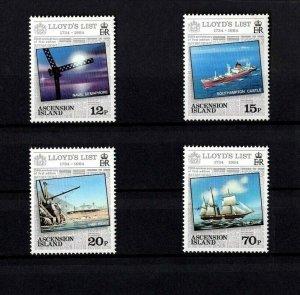 ASCENSION - 1984 - LLOYD'S LIST - SAILING SHIP - CARGO SHIP ++ 4 X MINT MNH SET!