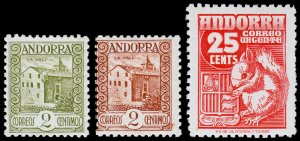Spanish Andorra Scott 13, 25, E5 (1929-49) Mint H/LH VF, B