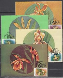 Romania, 1992 issue. 12-15/AUG/92. Orchid cancels on 4 Maximum Cards.